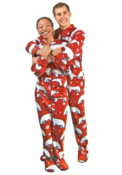 Mens Footed Pajamas Polar Bears Fleece with Drop Seat Size 6