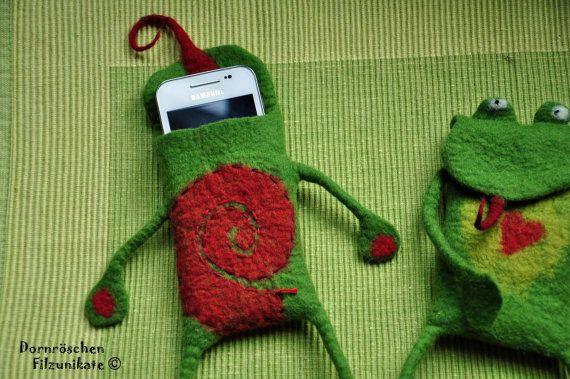 frog smartphone protection bag by feltforcat on Etsy