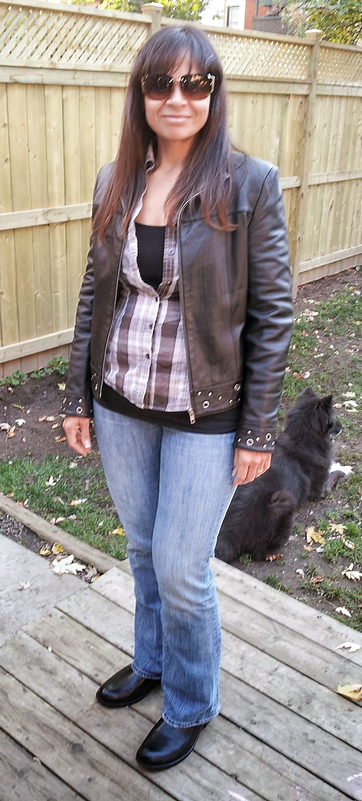 This entire outfit (including biker boots and 100% leather jacket) cost me $42.  The biker boots were in the men's department at #Walmart on clearance for $15, the jeans are from #ValueVillage (#AmericanEagle) $8, the tank is from #OldNavy $2, the chekered shirt was a hand-me-down from a girlfriend, the #bikerjacket was from Value Village $12, the shades $5 clearance from #Reitmans.  I'm an awesome shopper!