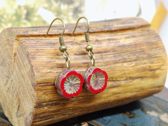 rote Ohrringe Mohnblumen bronzefarben romantisch böhmische