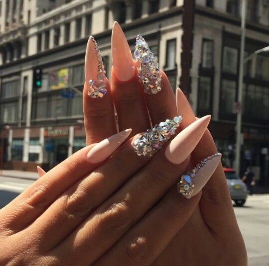 Stiletto Nude Nail With Swarovski Crystals Blinged Nails Nail Design Pinterest Swarovski