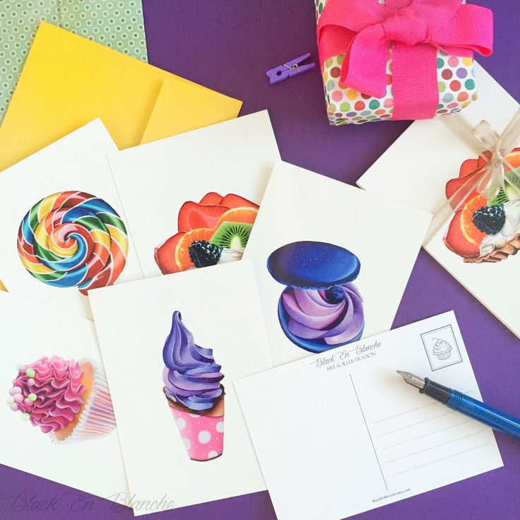 5 POSTCARD SET / Art Postcards / Dessert and Candy Postcards / Cupcake / Macaron / Stationery / Colorful / Snail Mail / Notecards / Cards by BlackEnBlanche on Etsy