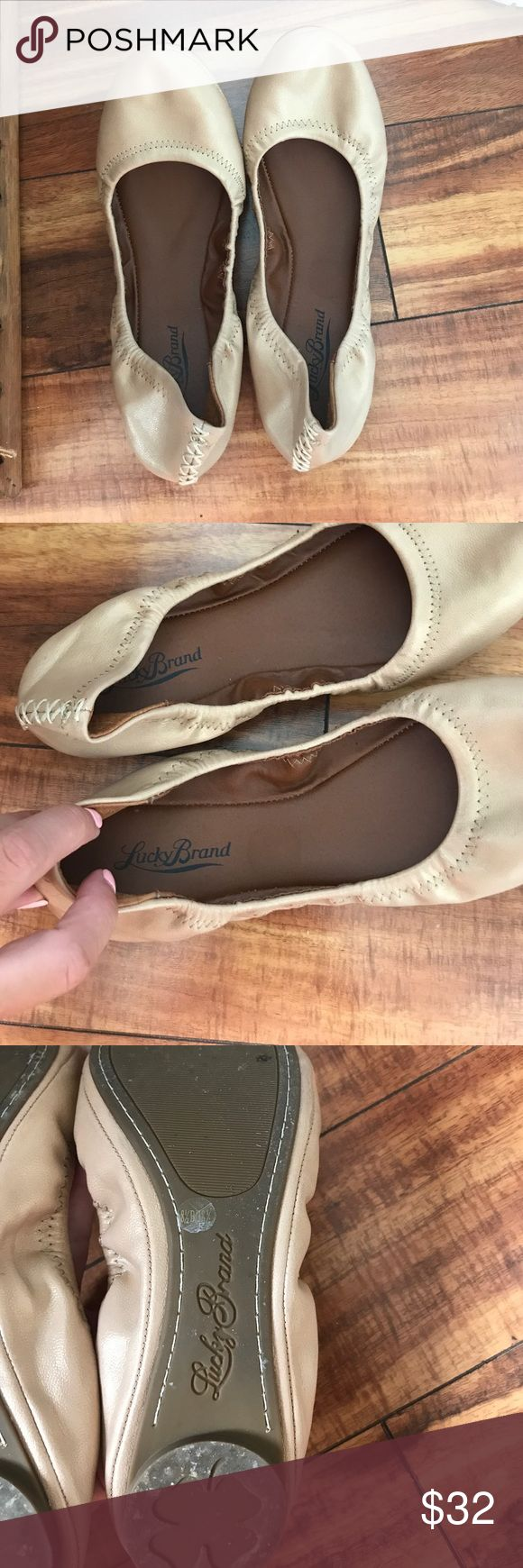 Lucky Brand Flats Only worn once Lucky Brand flats in champagne/tan color! Lucky Brand Shoes Flats & Loafers