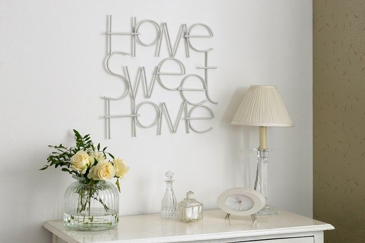 white home sweet home text metal wall art | Graham and Brown