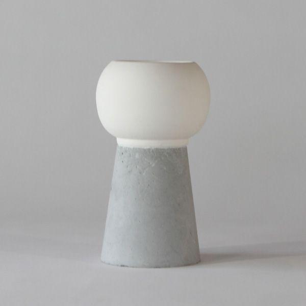 SC120 CERAMIC + CONCRETE VASE + POT ↔11.0cm↑20.0cm. White matte ceramic + grey matte concrete vase + pot. High quality handmade objects Designed+Made by Decovery | Essential Details.