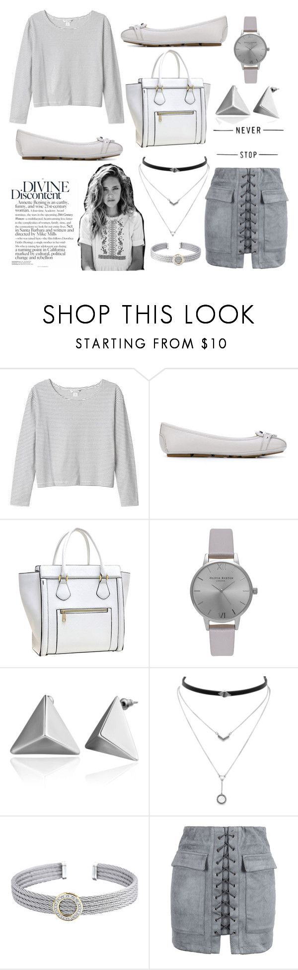 """""""Gray and simple"""" by the-tossing-tides ❤ liked on Polyvore featuring Monki, MICHAEL Michael Kors, Dasein, Olivia Burton, Jessica Simpson, Alor and WithChic"""