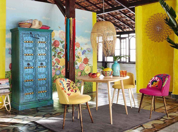La décoration prend des airs damérique du sud salle à manger bleue jaune