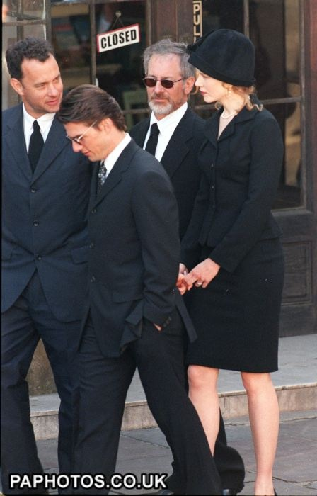 Actor Tom Cruise (2nd left) and his actress wife Nicole Kidman arrive at Westminster Abbey with fellow actor Tom Hanks (left) and director Steven Spielberg, for the funeral of Diana, Princess of Wales this morning (Sat)