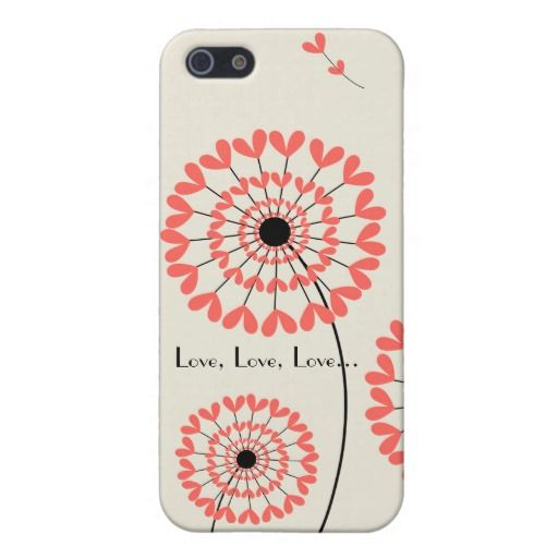 """Cute and smart Iphone 5 Case for Girls with Red Dandellions / Carcasa Iphone 5 con Dientes de León Rojos """"Love, love, love"""""""