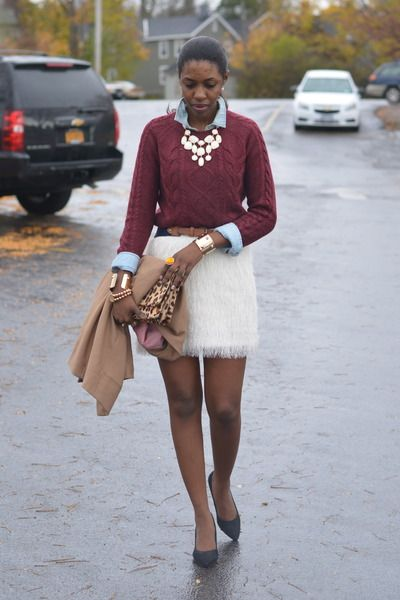 Layered look - on trend fall color w/ more casual shirt under