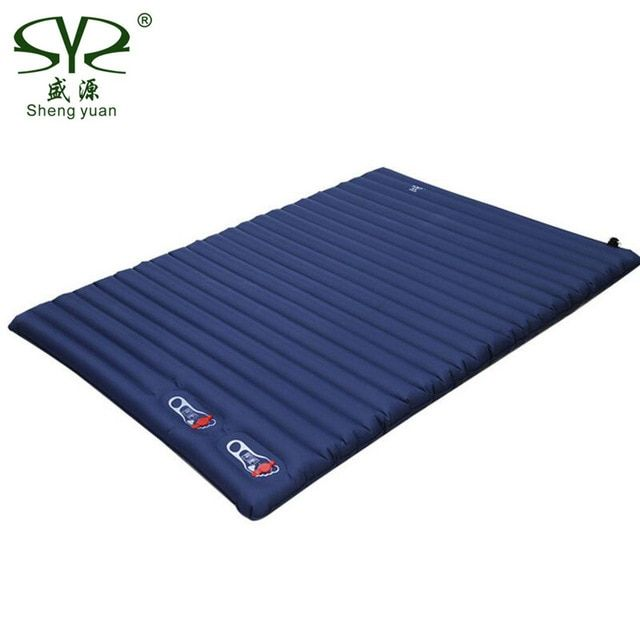 Thick 10cm Inflatable Cushion Camping Mat Portable Sleeping Pad Outdoor Tent Double Inflatable Bed Mattress Beach Picn Inflatable Bed Sleeping Pads Camping Mat