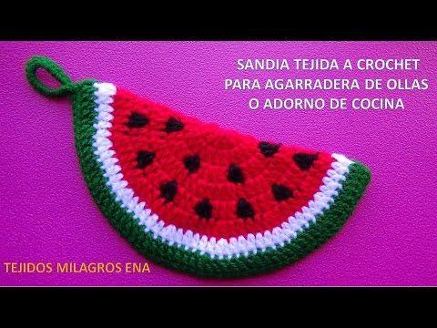 Sandia tejida a crochet paso a paso para agarradera de ollas o adorno de cocina - YouTube