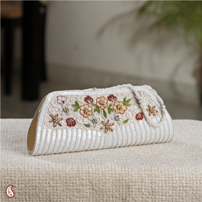 Brand new Serene White floral clutch at Rs.799/- only: Clutches, Serene White, Brand, White Floral, Accessories, Rs 799
