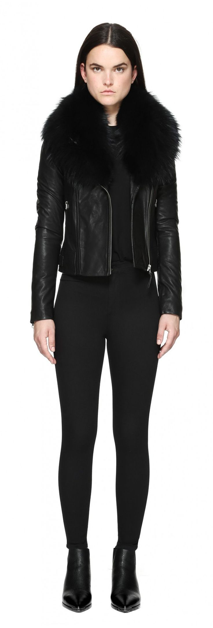 YOANA-SP BIKER LEATHER JACKET WITH FUR COLLAR IN BLACK