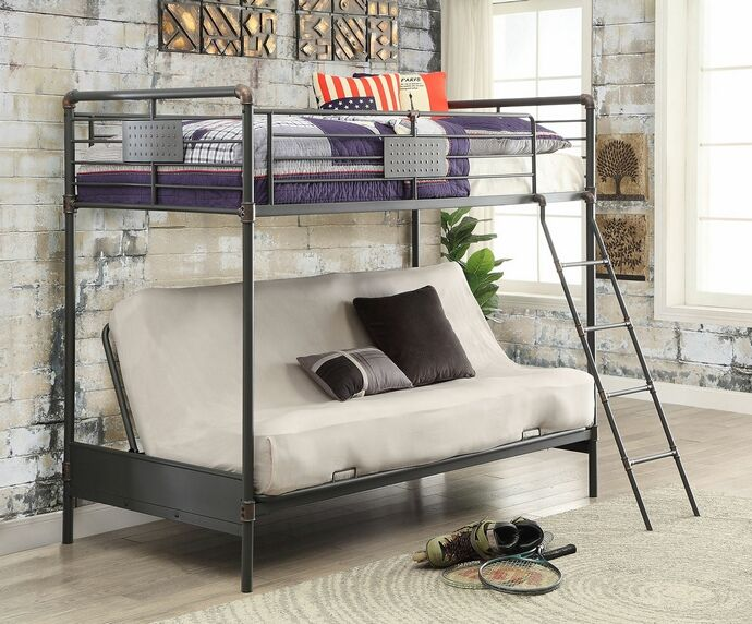 "Olga I collection antique black finish metal frame industrial inspired style twin over futon base bunk bed set. Measures 78 3/4"" x 42"" x 68 1/8"" H. Some assembly required."