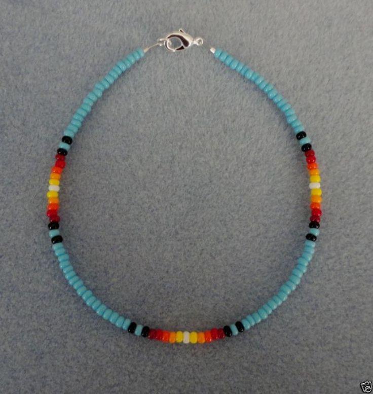 Blue Turquoise Sunburst Beaded Anklet Ankle Bracelet Native American Made 9-11.5 – Schmuck &Schnick Schnack