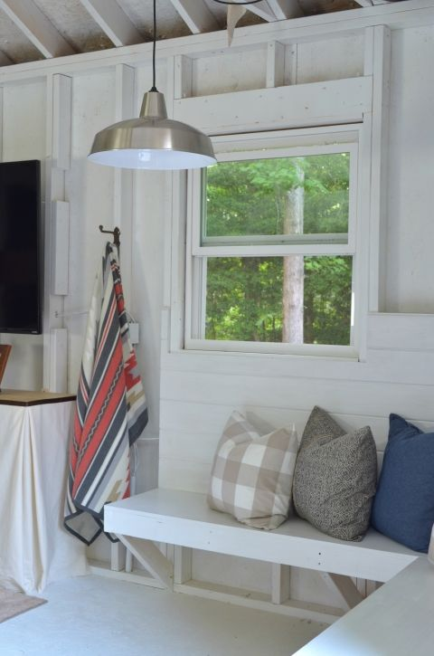 Farmhouse style shed makeover! A little rustic, a little modern.