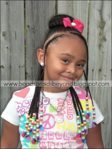 Cute Cornrow Styles For Girls | Beads, Braids and Beyond: Half Cornrows with Braid Around Sock Bun
