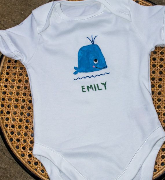 Personalised handpainted whale babysuit by Meadowridgedesigns