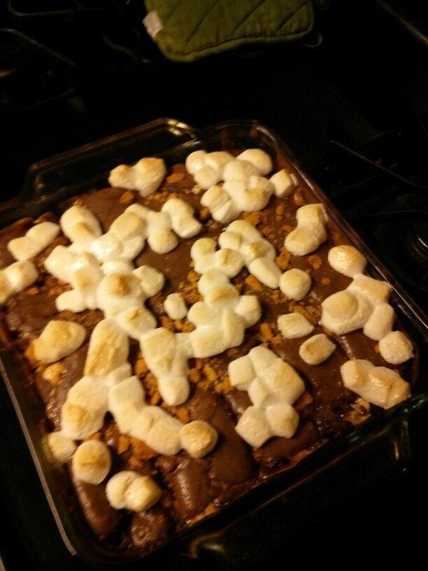 smores brownies still hot