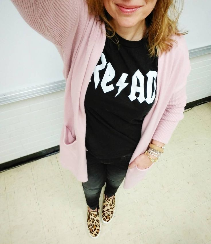 Blush pink black and leopard = my jam. And Saturdays definitely Saturdays.  . . . . . .#teacherstyle #teacherfashion #ootd #wiwt #currentlywearing #realoutfitgram #outfit #whatiworetoday #mystyle #styleover40 #lookoftheday #fashionover40 #acdctshirt #acdc #read #readabook #casualoutfit #casualstyle #weekendstyle #weekendoutfit #everydayteacherstyle #momoutfit  #blushpink #blush #pinkcardigan #leopardslipons #leopardshoes #stevemadden #mavijeans