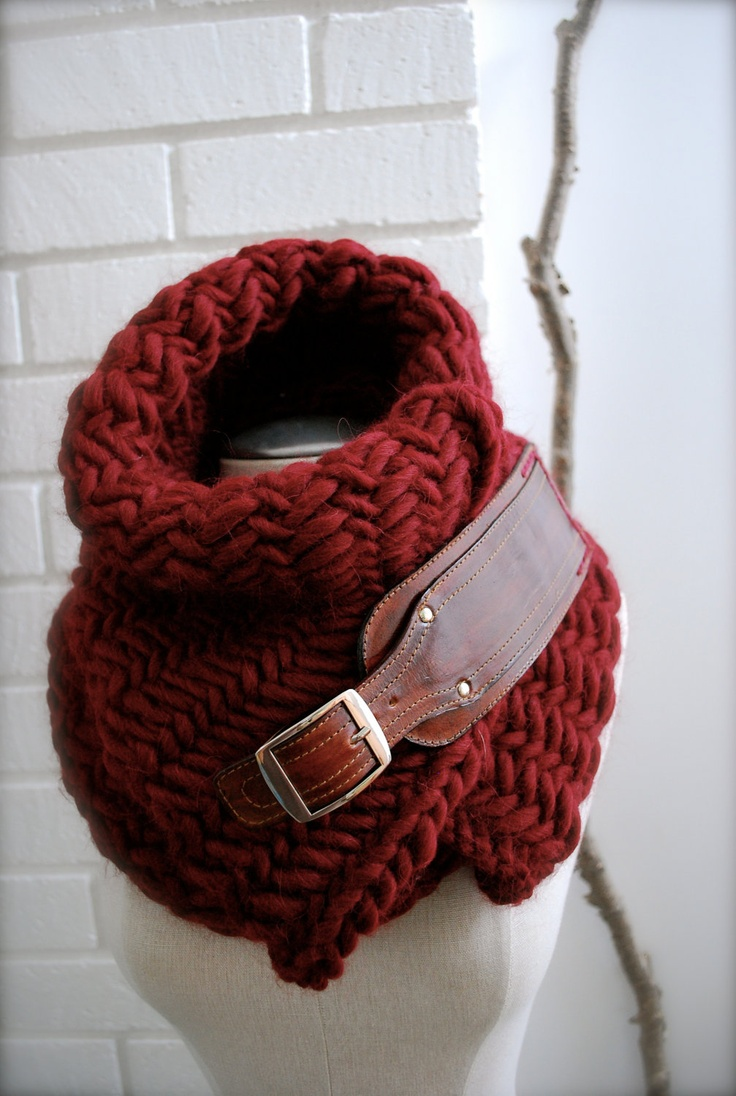 Oxblood, burgundy,herringbone chunky knit scarf with leather buckle.