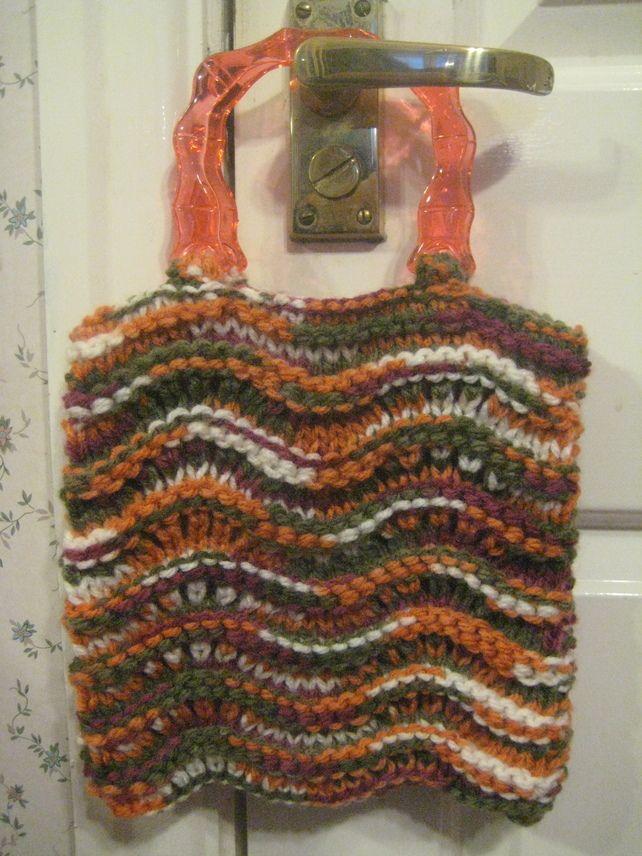 Knitted Green Orange Cream Small Handbag With Resin Handles £6.00