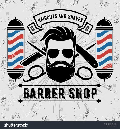 Barbershop Logo with barber pole in vintage style. Vector template Barbearia  Logomarca 15da03c4d4e