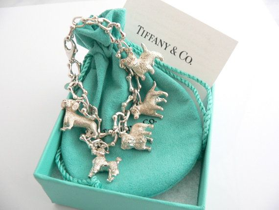 Vintage Tiffany And Co Charm Bracelet 5 Dog Charms
