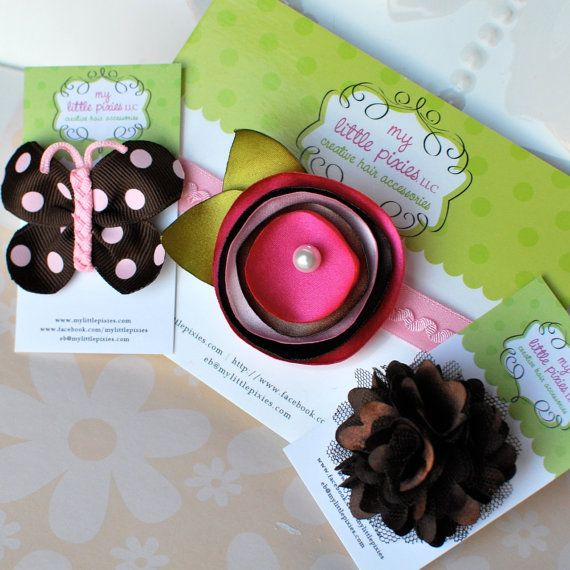 Pink and Brown Fall Headband Baby Gift Set by MyLittlePixies, $16.00