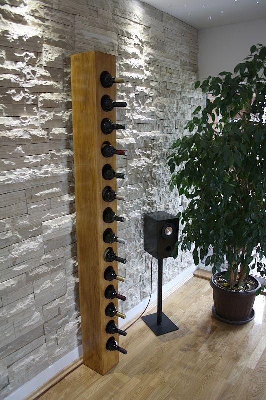 Große feste Holz Weinregal 14 Flaschen / rustikalen von WooDesignHR