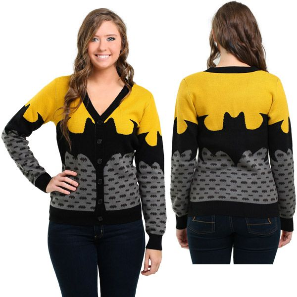 The Batman Cardigan defends your wardrobe against the forces of boredom and lackluster clothing.  Usually sticking with basic black, the Dark Knight usually isn't considered a style icon but the same won't be said about you when you cruise around Gotham City in this 100% acrylic, V-neck cardigan t