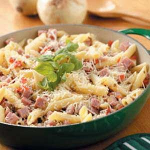 Pretty Penne Ham Skillet Recipe- Made tonight and we loved it. Great sauce and easy! Good dish for all the leftover ham.