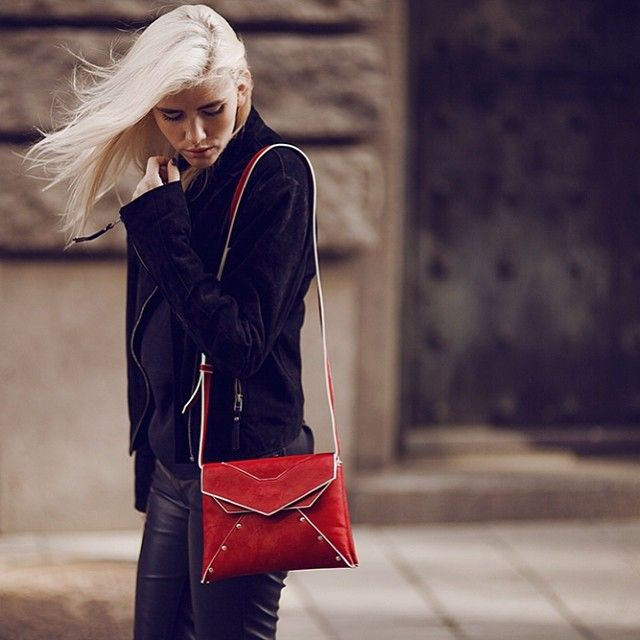 Our Swedish customer Elsa Ekman wearing a Red Super by SALAR Milano and available at WWW.FINAEST.COM | #salar #salarmilano #bag #clutch #fashion #moda #mode #streetstyle