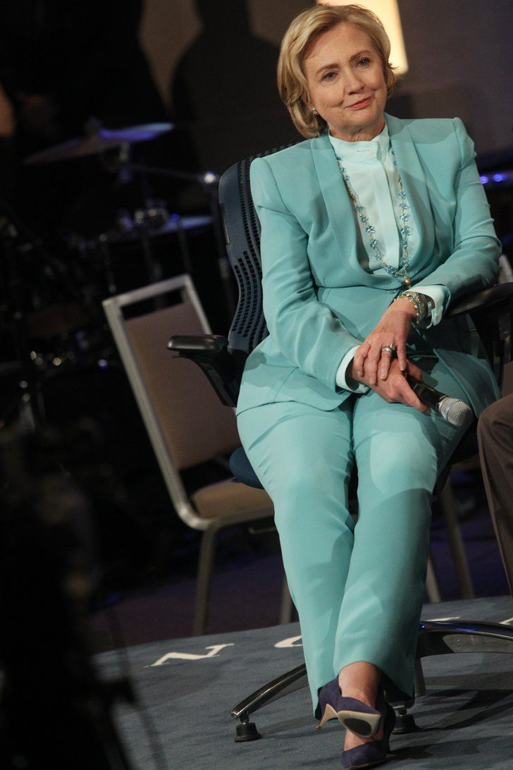 Pin for Later: An Homage to the Many Pantsuits of Hillary Clinton Match Point She sure does have a thing for matching her accessories to her outfit — and somehow it always works.