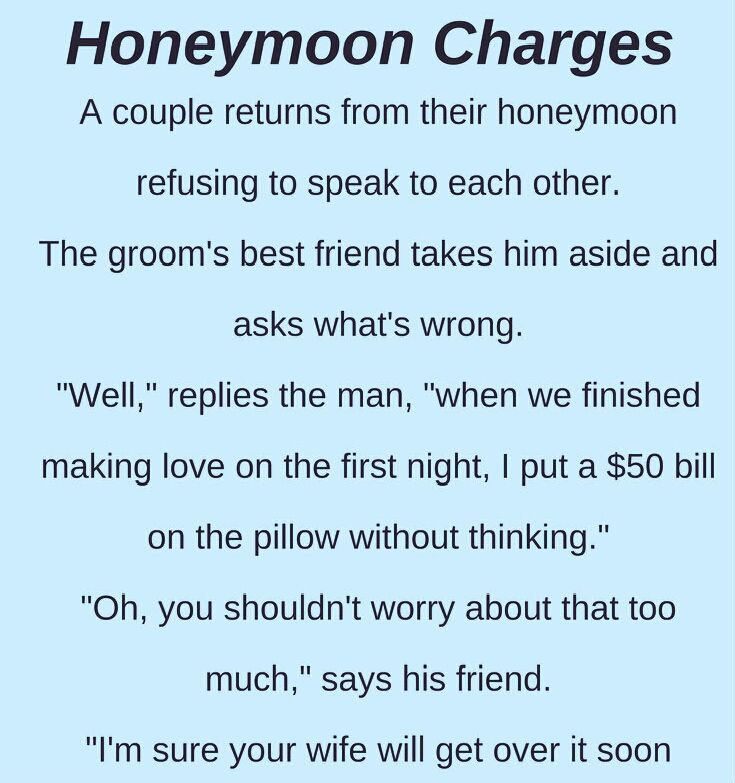 Husband And Wife Refused To Talk To Each Other After Honeymoon Honeymoon Jokes Marriage Jokes Wife Jokes