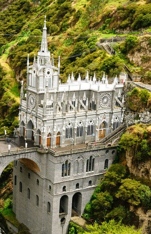 Las Lajas Sanctuary, Colombia: Built between 1916 and 1949, this wondrous basilica church stands on a canyon in southern Colombia. This gorgeous structure surrounded by a pool of green is both striking and mystical.