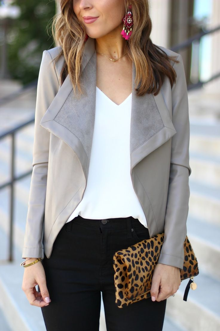 Drape Front Faux Leather Jacket