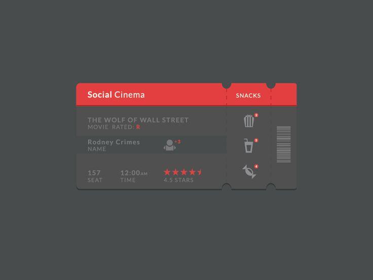 Social Cinema Ticket Ui by Rodney Crimes