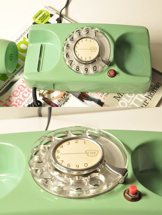 Beautiful mint green rotary phone, made in USA, in the 1970s, by GTE.  In very good working condition this phone has been restored and the cord has been replaced by a new american plug like this: phone-jack.org/rj11 (see photo 5) so its ready to install!  - - - - - - - - - - - - - - - - - - - - - - - - - - - - - - - - - - - - - - - - - - - - - - - - - - - - - - - -  Please take a closer look at all photos for the best idea of its condition.  Keep in mind that all items in our shop are us...