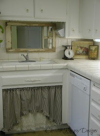 Chateau De Fleurs: My Little Country Kitchen:  salvaged window and sink skirt.