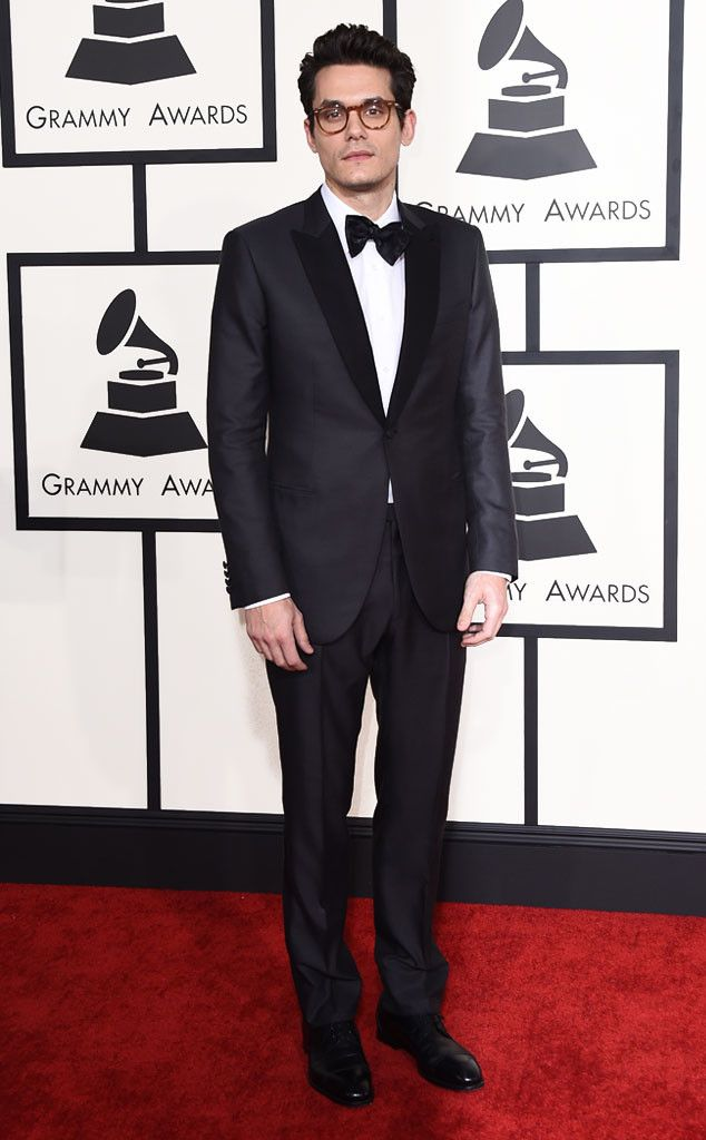"""John Mayer from Best Dressed Men at the 2015 Grammys  The """"Gravity"""" singer keeps it sleek in a classic tux and bowtie with tortoise shell rimmed glasses."""