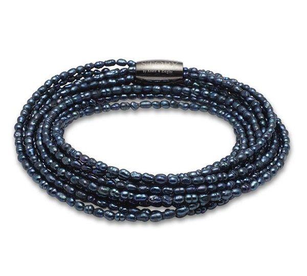 Kranz & Ziegler STORY Armbånd med perler i petroleumfarver