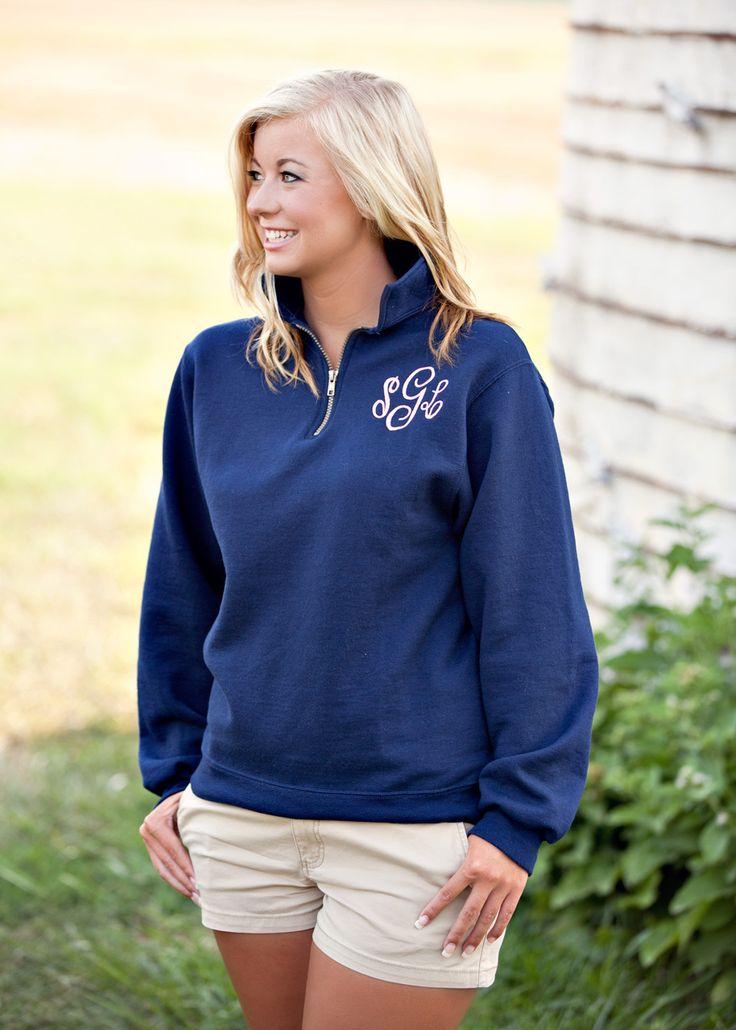 Monogram 1/4 zip Sweatshirt with Circle Monogram - Memento - Personalized Monogrammed Gifts