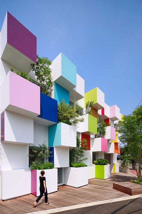 Coloured boxes and plants cover the latest Sugamo Shinkin Bank by Emmanuelle Moureaux.