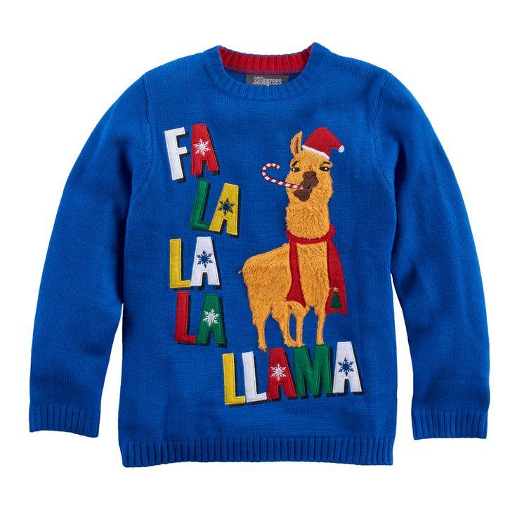 Boys 8-20 Fa La La Llama Sweater, Size: Medium, Med Blue