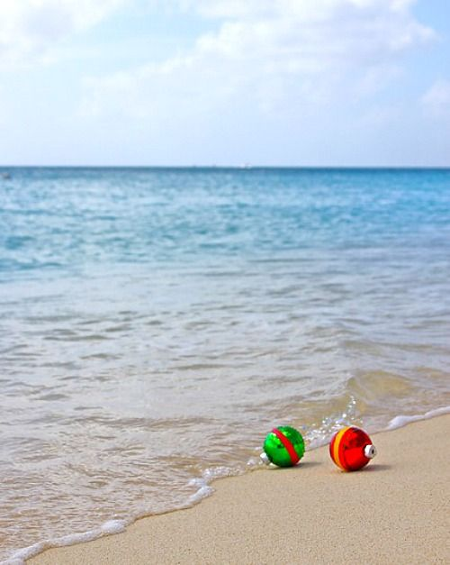 Christmas Ornaments on the Beach Photo Greeting Card Idea