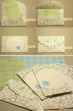 Doily envelopes.  Fun for Valentine's day or wedding invites?