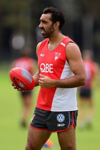 Adam Goodes of the Swans looks on during a Sydney Swans AFL training session at Lakeside Oval on March 4, 2014 in Sydney, Australia.