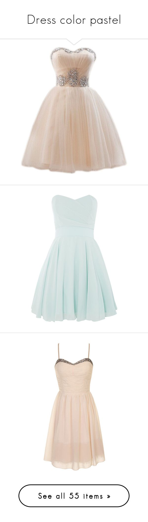 """""""Dress color pastel"""" by juulyh ❤ liked on Polyvore featuring dresses, short dresses, cocktail prom dress, short pink dress, sweetheart neckline prom dress, mini dress, pink prom dresses, vestidos, robes and clearance"""